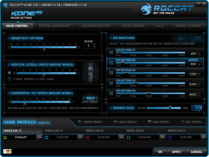 Roccat Kone XTD Gaming Maus Software mit DPI Einstellungsprofilen im Gaming Maus Test.