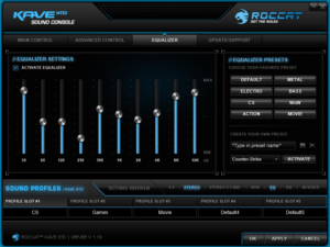 Der Equalizer bei dem Gaming Headset Roccat Kave XTD 5.1 Gaming Headset.